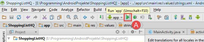 android sqlite app starten