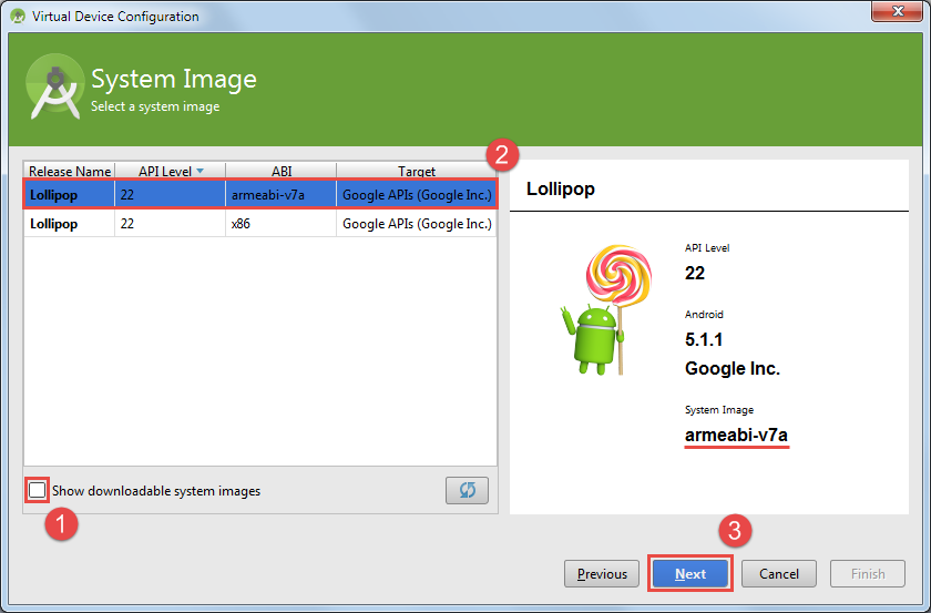 android virtual device mit arm system image