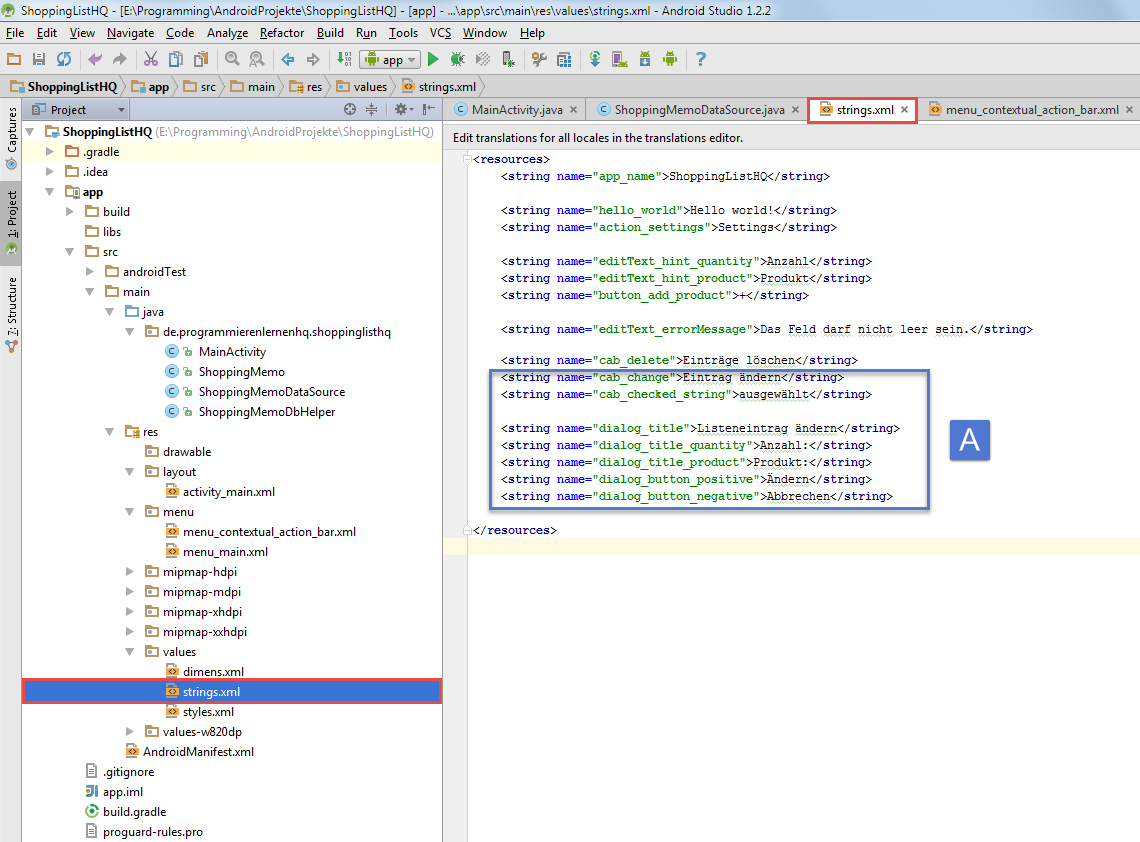 android sqlite strings xml