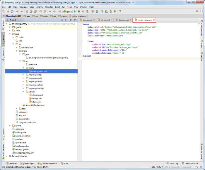 android sqlite menu code