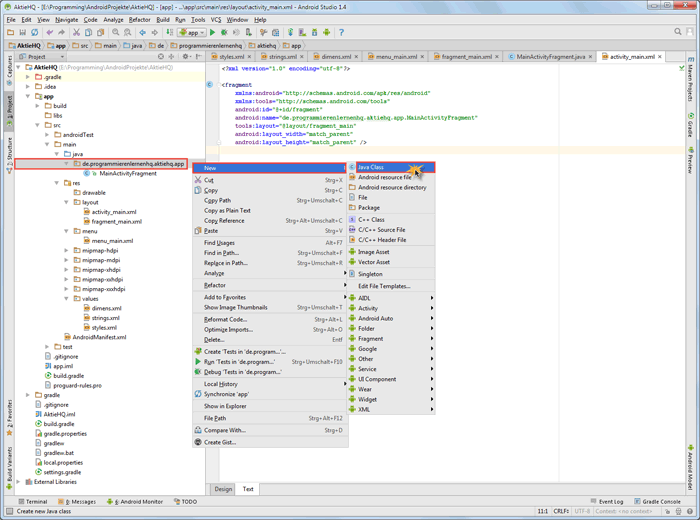 android studio project activity class