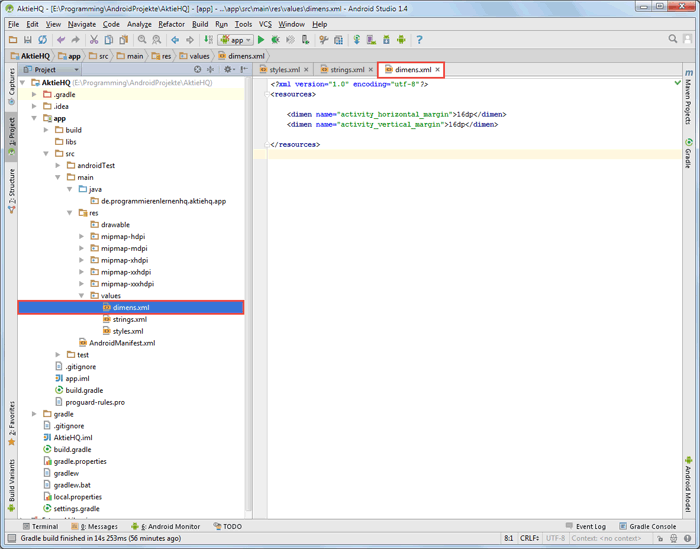 android studio project dimens code