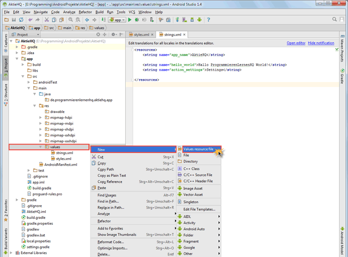 android studio project dimens create