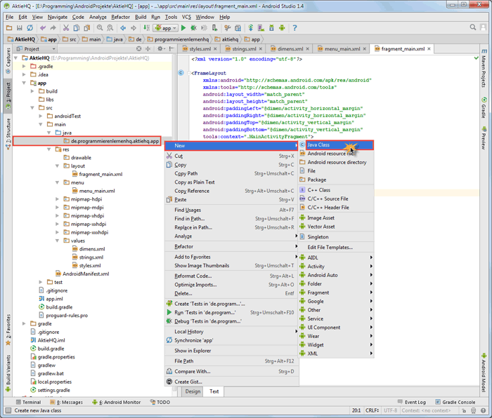 android studio project fragment class