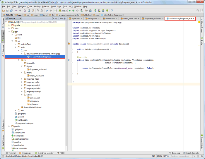 android studio project fragment code