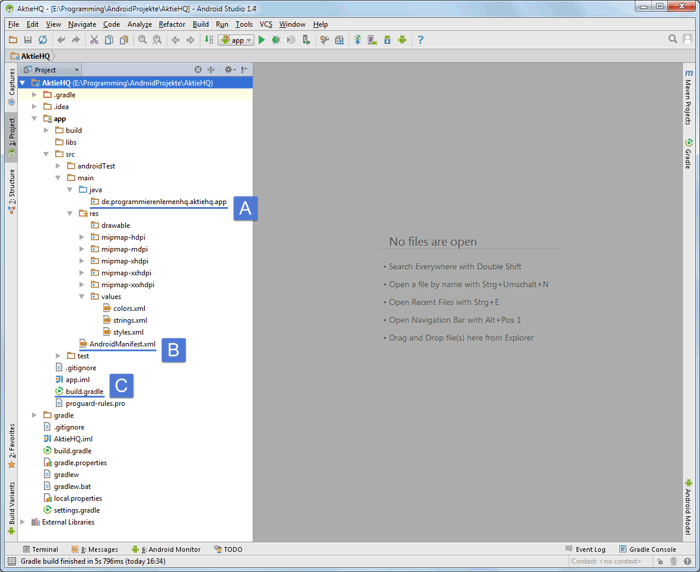 android studio project important files