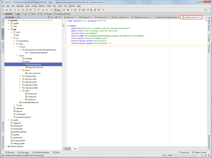 android studio project layout activity code