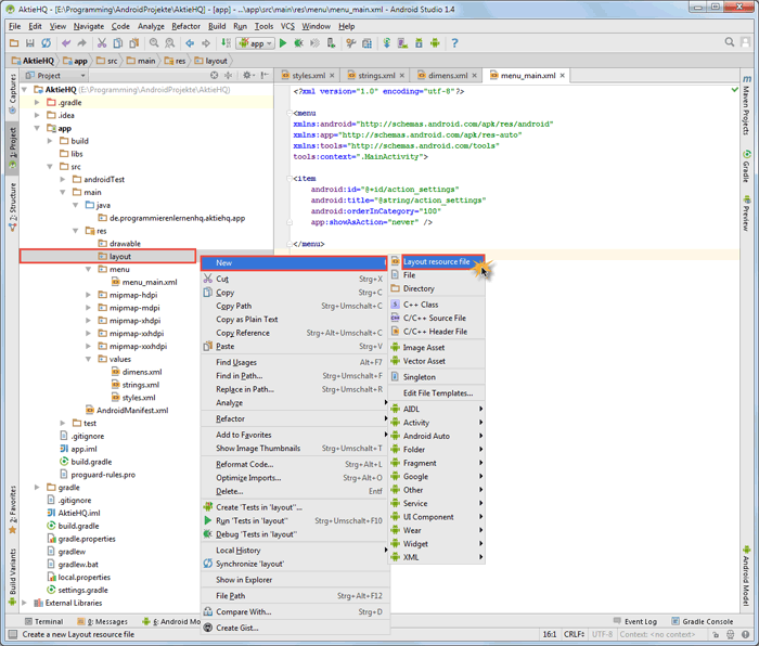 android studio project layout file