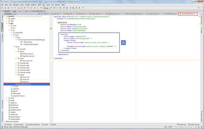 android studio project manifest after