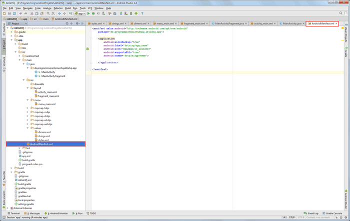 android studio project manifest before