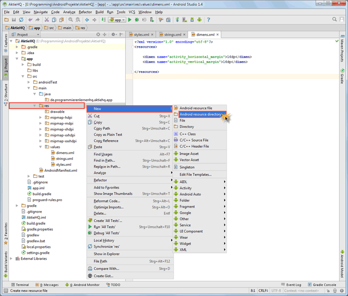 android studio project menu directory