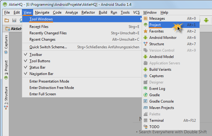 android studio project project view