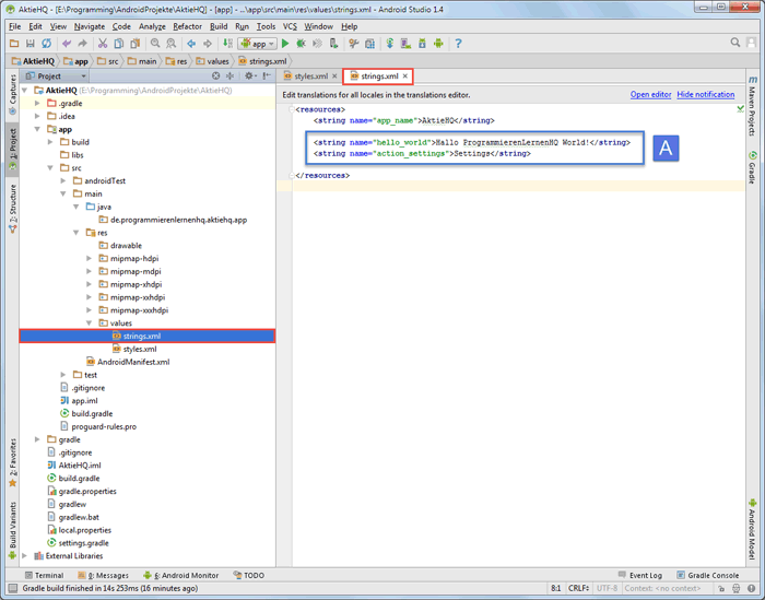 android studio project strings after