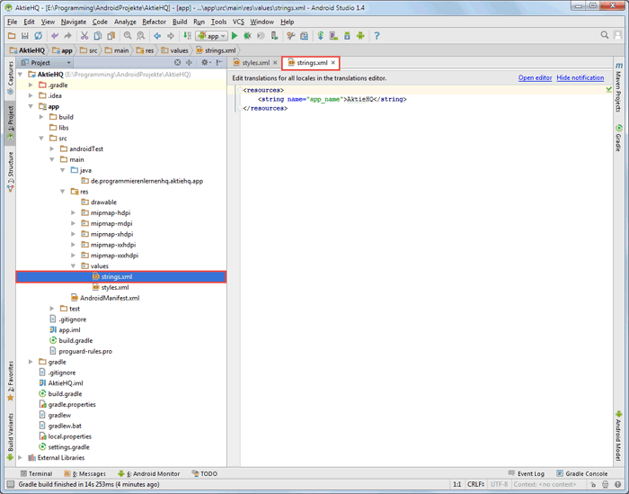 android studio project strings before