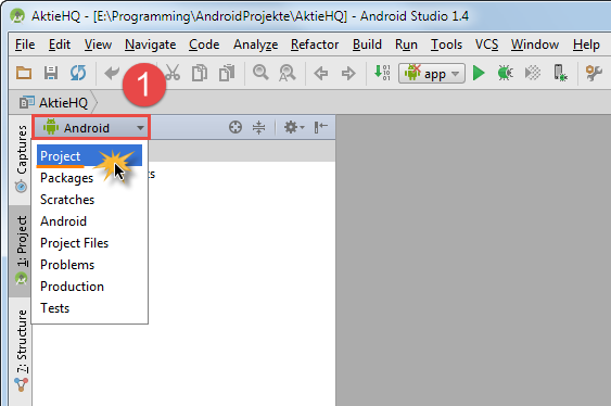 android studio project view change