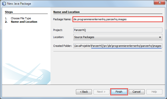 java spiel new package dialog