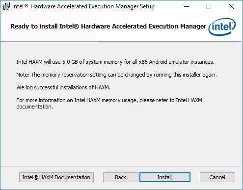 android studio haxm install 3