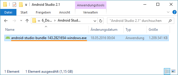 android studio installationsdatei