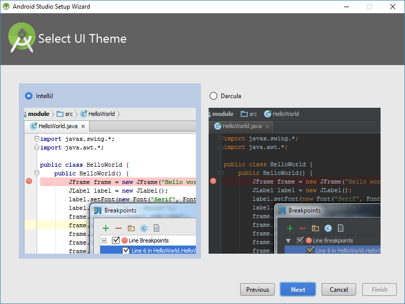 android studio setup theme chooser