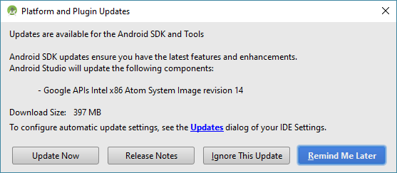 android studio update dialog