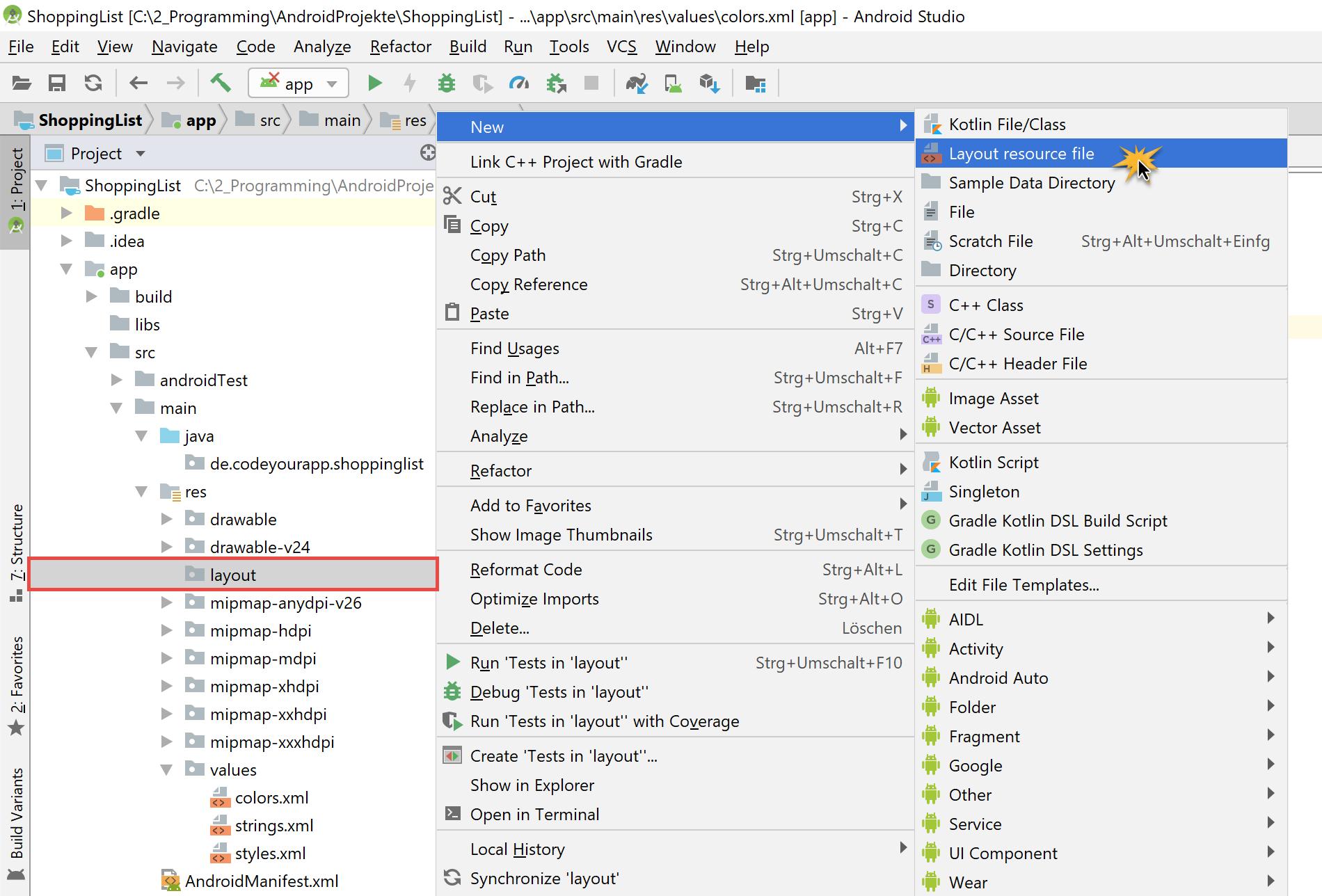 android_sqlite_layout_file_erstellen