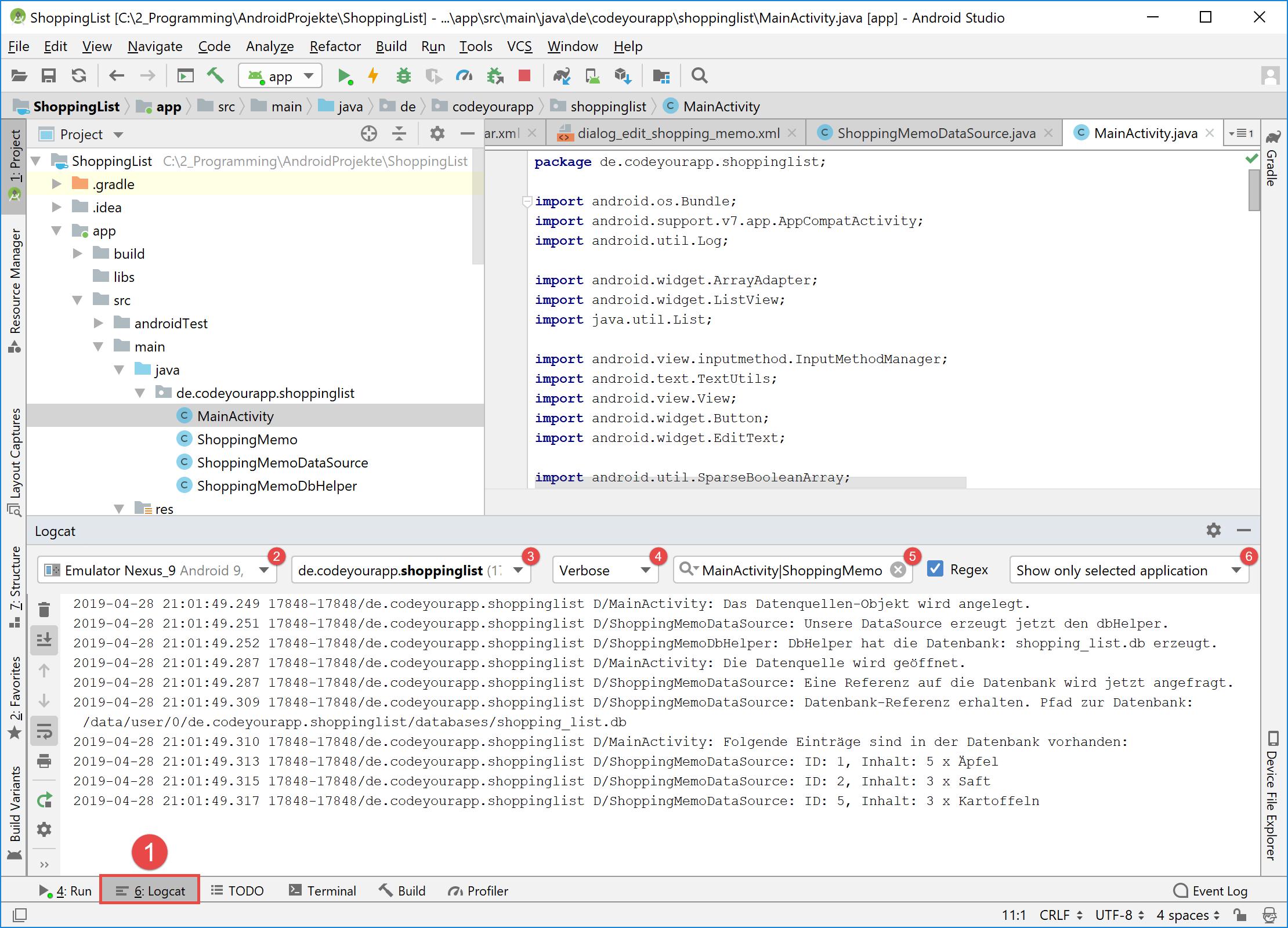 android_sqlite_update_logcat_start